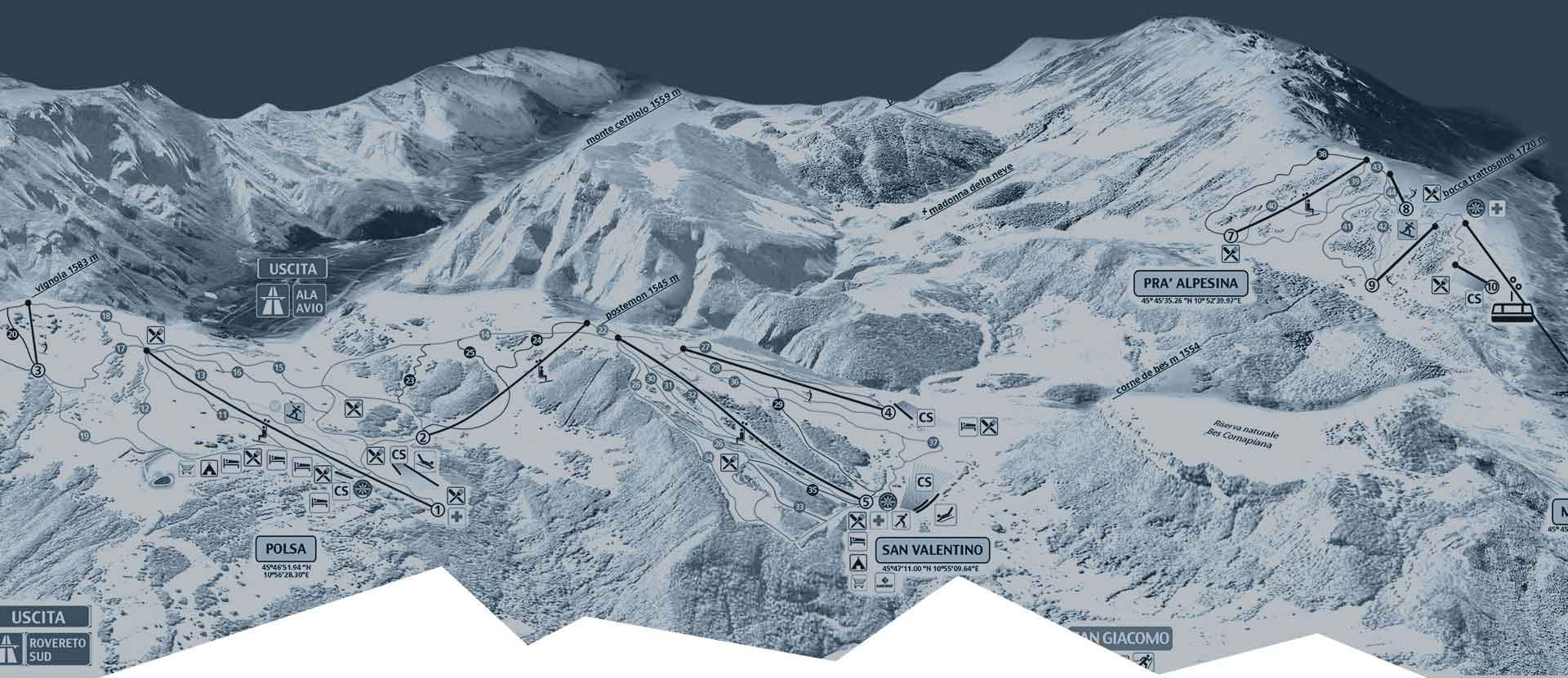 Brentonico Ski Map Background Filter